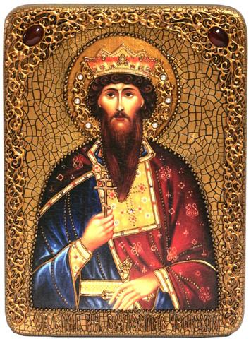 Инкрустированная Икона Святой Благоверный князь Вячеслав Чешский 29х15см на натуральном дереве, в подарочной коробке