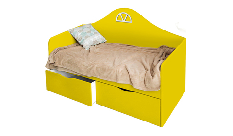 Детский диван-кровать с двумя ящиками желтый