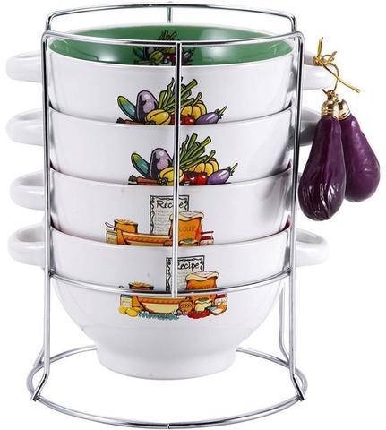 Набор пиал-бульонниц Wellberg Овощи Mix-ІV 680 мл на подставке (WB-20707)