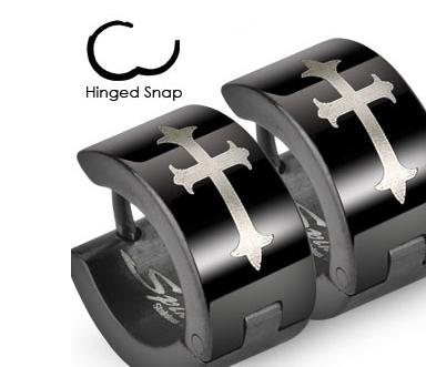 SSE-015 Широкие мужские серьги черного цвета с крестом, ювелирная сталь