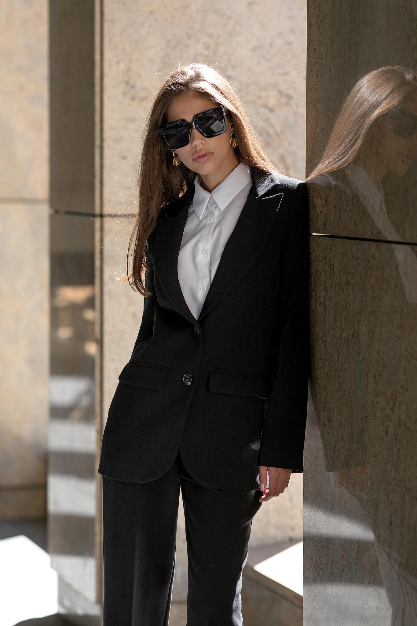 Пиджак прямой однобортный (черный)