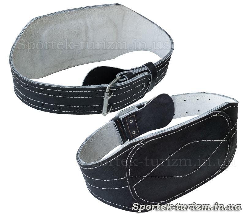 Чорний шкіряний атлетичний пояс з підкладкою для спини, довжина 95 см, широка частина 15 см