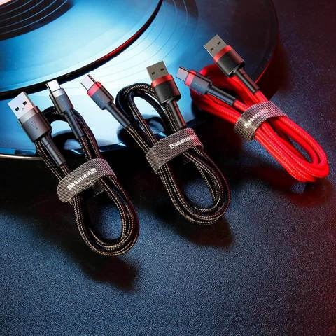 Кабель Baseus cafule Cable USB For Type-C 2A 2M Red+Black