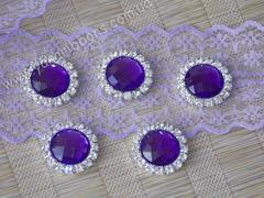 Камни круглые в стразовом обрамлении фиолетовые