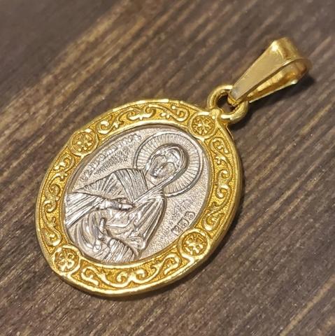 Нательная именная икона святая Ева с позолотой кулон медальон с молитвой
