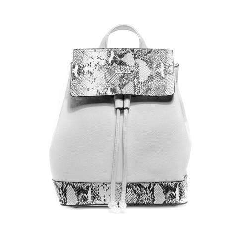 Белый рюкзак с вставками под кожу рептилии