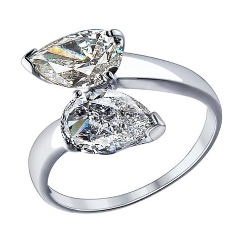 94012080-Кольцо из серебра с фианитами капельками