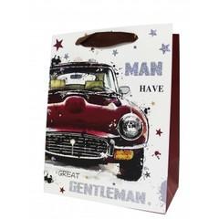 Пакет подарочный Красный автомобиль 32х26х12 см