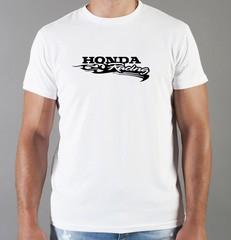 Футболка с принтом Honda racing (Хонда) белая 02