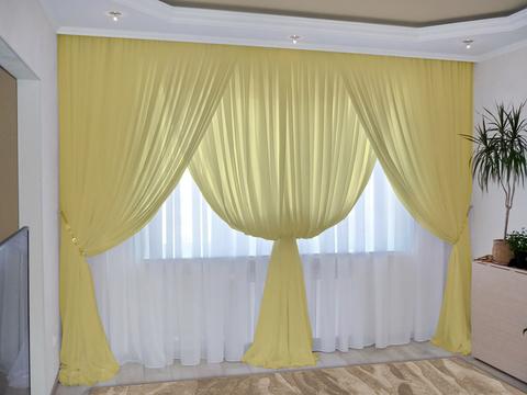 Комплект штор из вуали Клеопатра желтый