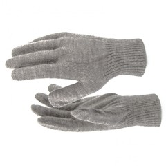 Перчатки трикотажные, акрил, коричневый, двойная манжета Россия Сибртех