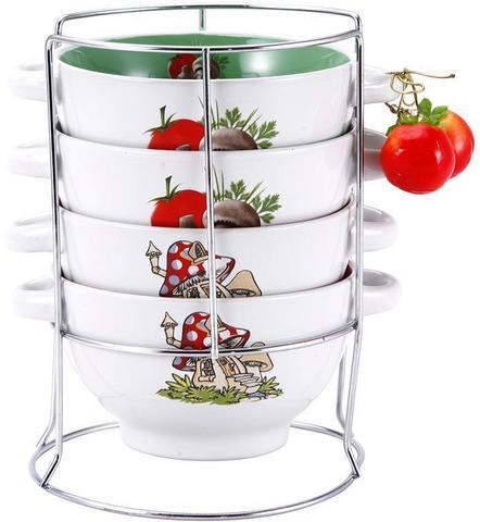 Набор пиал-бульонниц Wellberg Овощи Mix-ІІ 680 мл на подставке (WB-20705)
