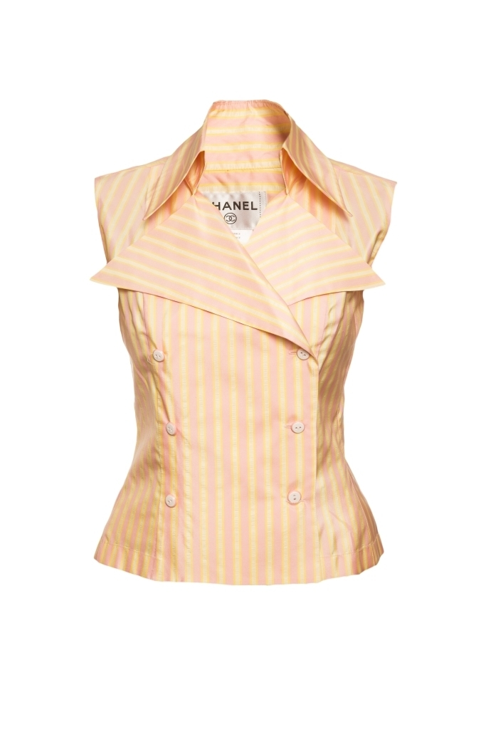 Стильный топ из шелка в полоску от Chanel, 38 размер.