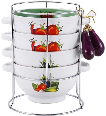 Набор пиал-бульонниц Wellberg Овощи Mix-І 680 мл на подставке (WB-20704)