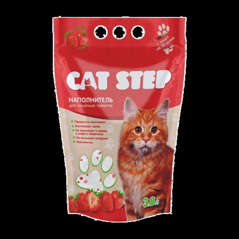 Cat Step Наполнитель для туалета кошек силикагелевый с ароматом клубники