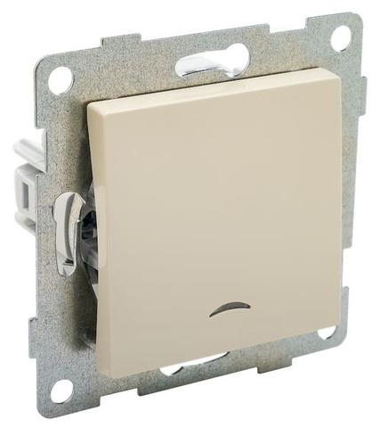 Выключатель одноклавишный с подсветкой, 10 А 220/250 В~. Цвет Бежевый. Ugra GUSI Electric. С11В18-003