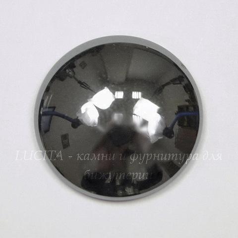 Кабошон круглый Гематит немагнитный (искусств,) глянцевый черный, 20 мм