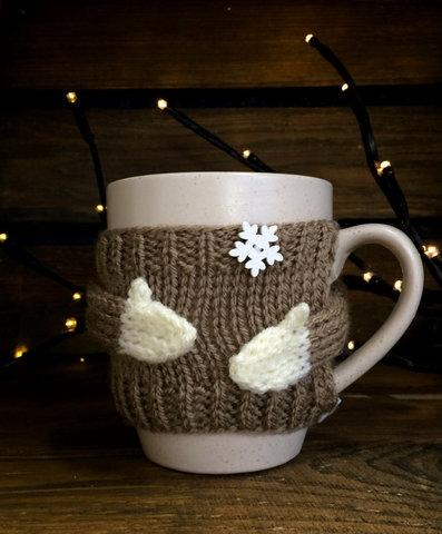 Чашка молочная в вязаном свитере - какао