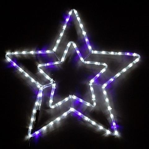 Звезда светодиодная d-50 см. Бело-синяя мерцающая