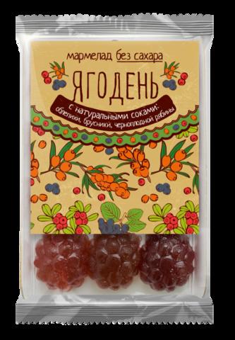 Вкус Сибири Мармелад Ягодень Ассорти (облепиха, брусника, черноплодная рябина) подложка 165 гр.