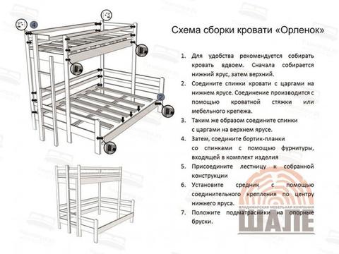 схема сборки кровати орлёнок