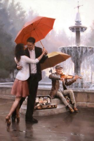 Картина раскраска по номерам 40x50 Влюбленные танцуют под зонтом