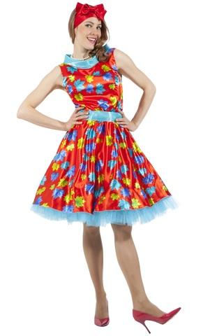 Платье Стиляга с листочками красное