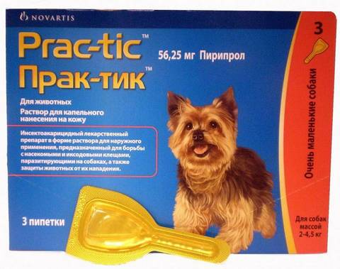 Prac-Tic Капли от блох и клещей для собак 2-4,5кг (3 шт)