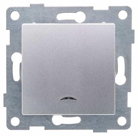 Выключатель одноклавишный с подсветкой, 10 А 220/250 В~. Цвет Серебро. Ugra GUSI Electric. С11В18-004