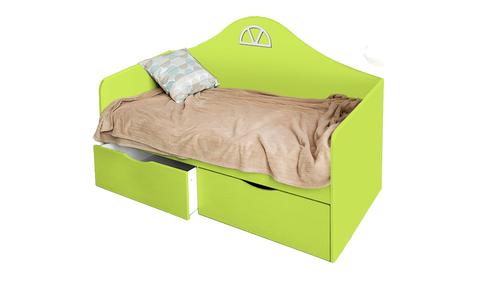 Детский диван-кровать с двумя ящиками салатовый