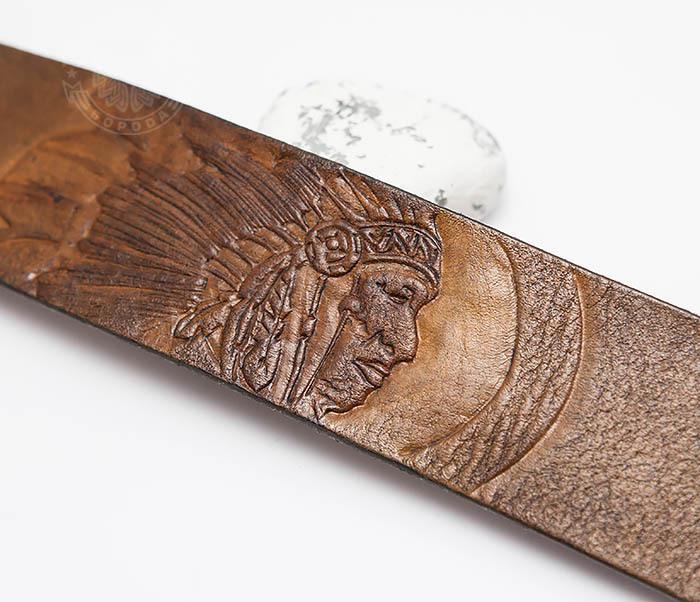 BL468 Мужской браслет ручной работы «Индеец» из натуральной кожи