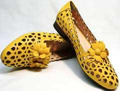 Красивые туфли босоножки из натуральной кожи женские Phany 103-28 Yellow.
