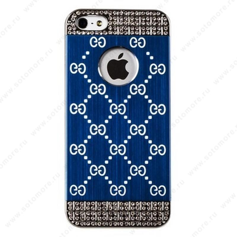 Накладка GUCCI металлическая для iPhone SE/ 5s/ 5C/ 5 серебро синяя