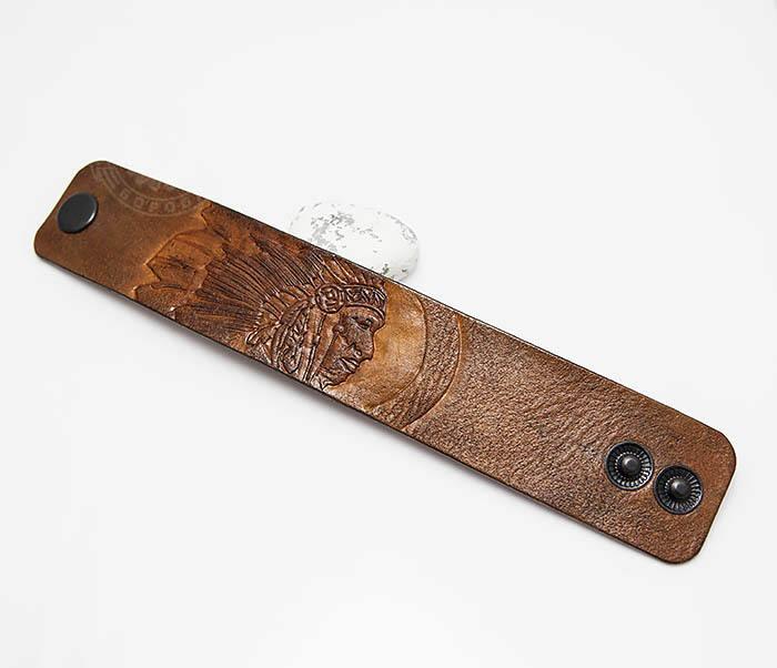BL468 Мужской браслет ручной работы «Индеец» из натуральной кожи фото 02