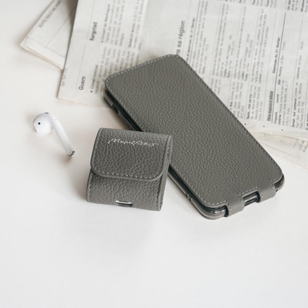 Чехол для iPhone SE/8 из натуральной кожи теленка, серого цвета