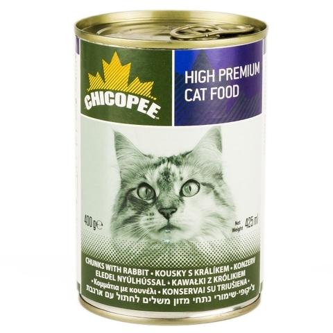 Chicopee Cat Chunks Rabbit консервы для кошек всех возрастов с кусочками кролика в соусе - 400 гр х 24 шт 0,4 кг