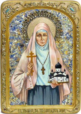 Большая живописная икона Святая преподобномученица великая княгиня Елисавета 42х29см на кипарисе в березовом киоте
