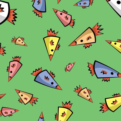 Треугольные птицы на зеленом фоне