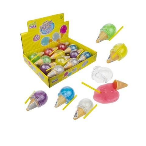 Слайм тайм Мяшка Bubble gum мороженое, 6 цветов, с трубочкой, 8,5х4,5см, 1кор*24бл*12 шт.