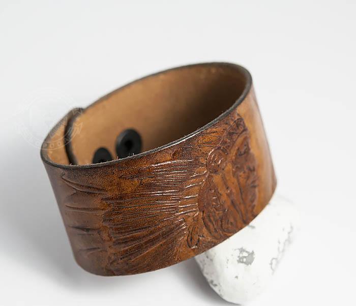 BL468 Мужской браслет ручной работы «Индеец» из натуральной кожи фото 03
