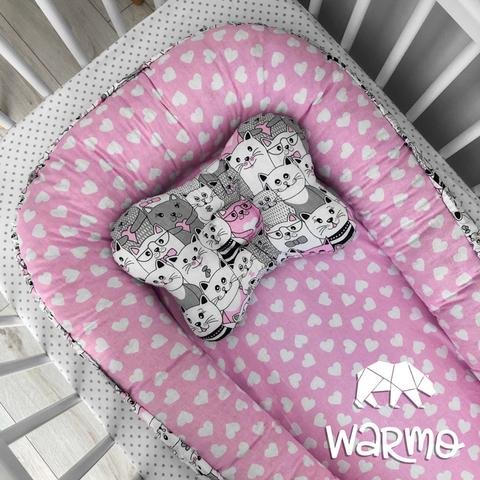 Кокон (гніздечко) для новонароджених Warmo ™ РОЖЕВІ КОТИКИ
