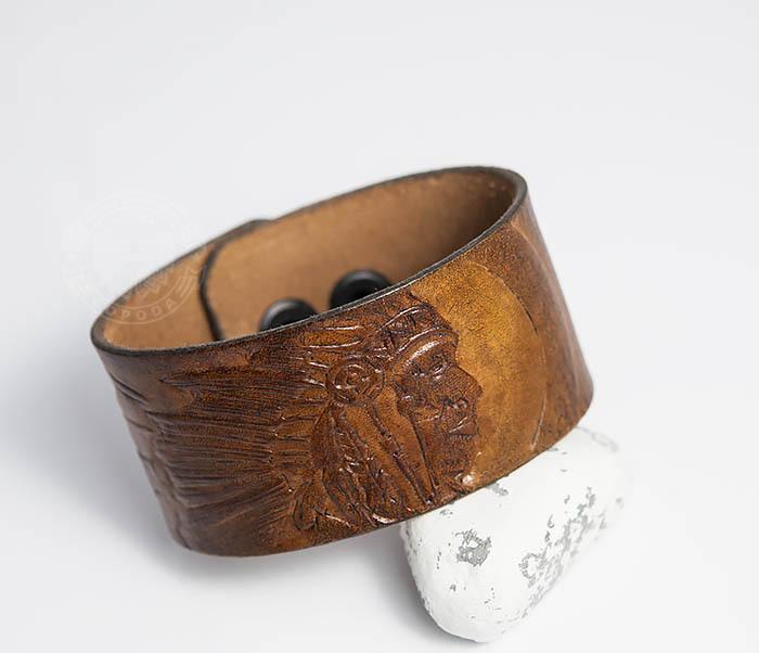 BL468 Мужской браслет ручной работы «Индеец» из натуральной кожи фото 04
