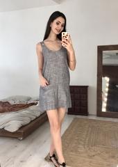 Ирэн. Легкое льняное женское платье. Серый
