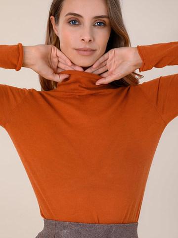 Женский свитер оранжевого цвета из 100% шерсти - фото 3