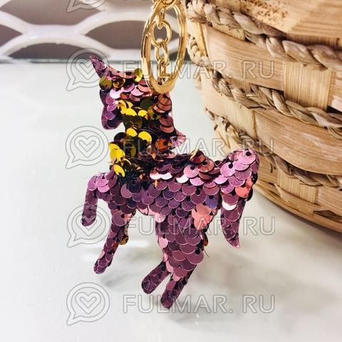 Брелок Единорог с двусторонними пайетками меняет цвет Розовый-Золотистый