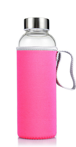 Бутылка из боросиликатного стекла с чехлом 350 мл. розовая