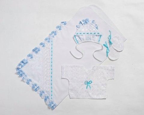 Sdobina. Комплект на выписку для новорожденного 4 предмета, голубой вид 1