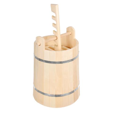 Кадка из липы для воды и заготовки солений с гнётом и замком 15 л