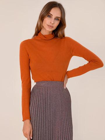 Женский свитер оранжевого цвета из 100% шерсти - фото 2