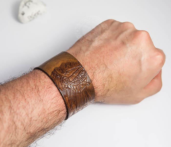 BL468 Мужской браслет ручной работы «Индеец» из натуральной кожи фото 06